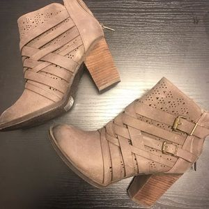 Rare Not Rated Taupe Buckle Bootie